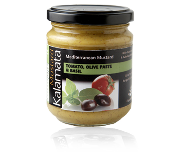 Mediteranean mustard with tomatoes, olive paste and basil